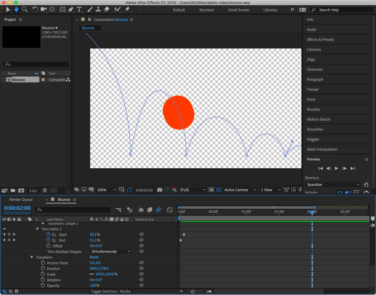 A simple After Effects composition of a bouncing ball against a transparent background