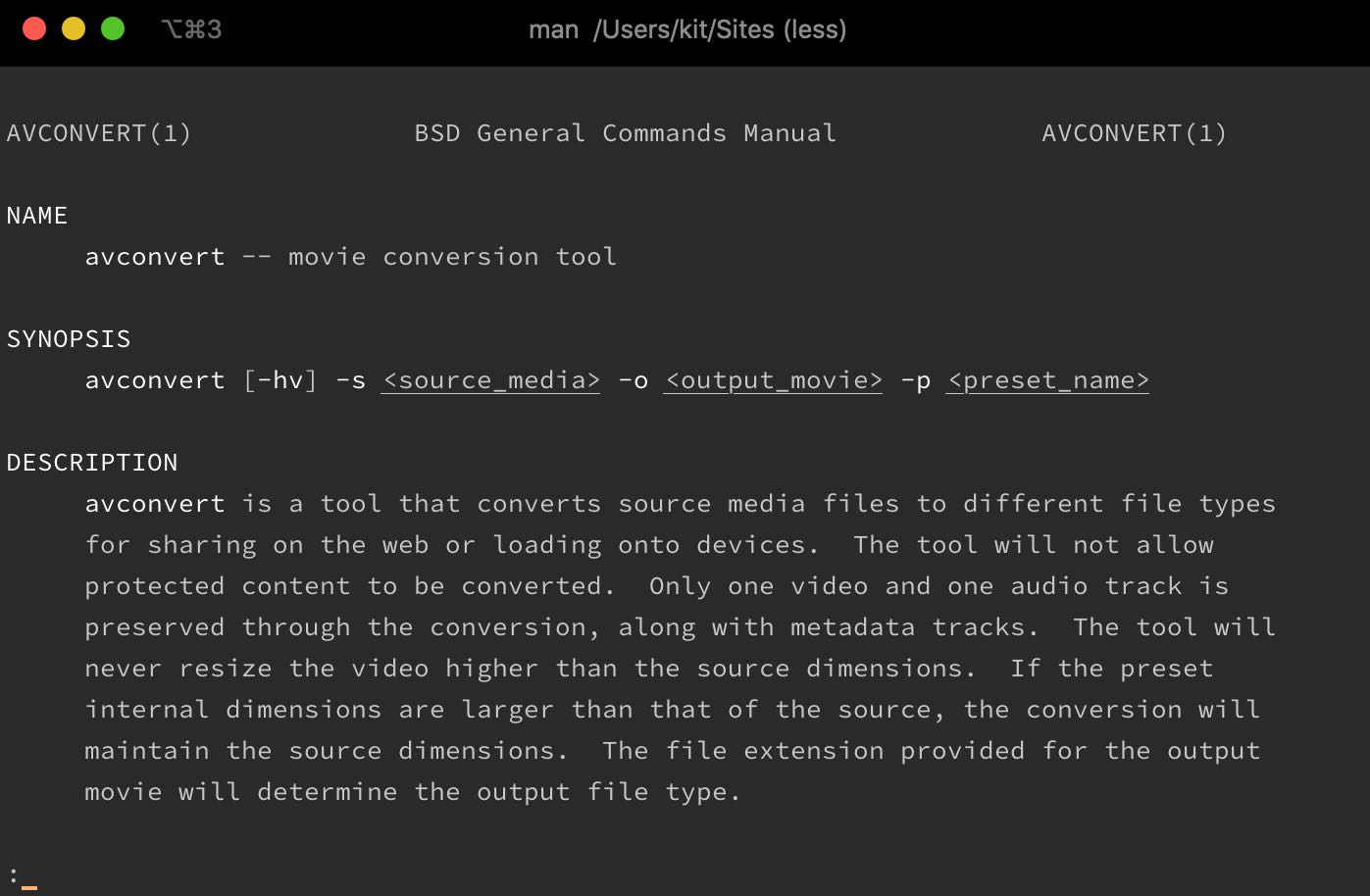 Encoding HEVC using avconvert in the terminal