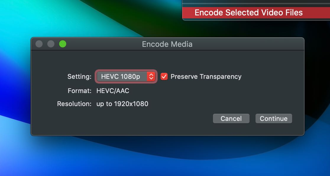 Context menu option to encode video in Finder